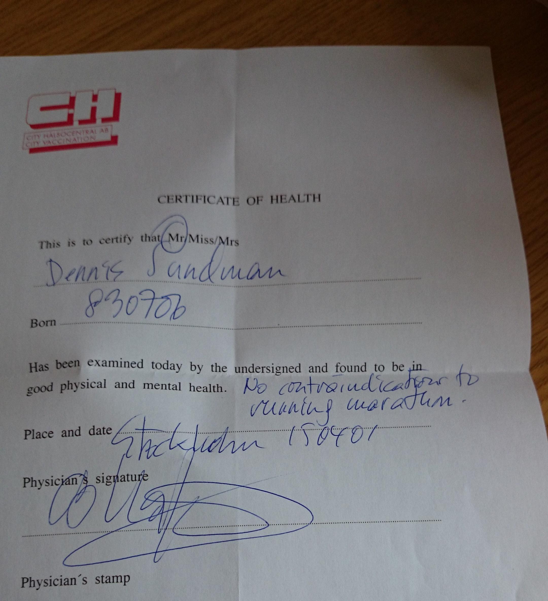 Race certificate